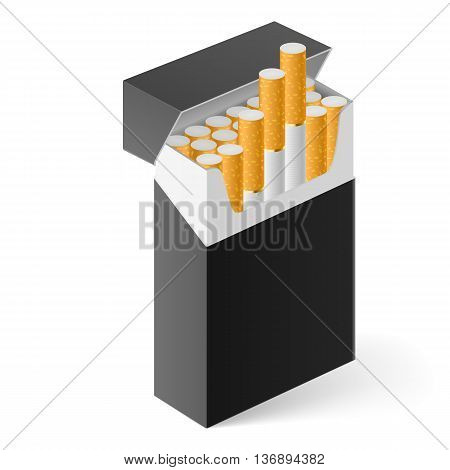 Black Pack of cigarettes isolated on white