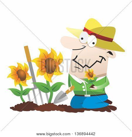 Vector Funny Cartoon Gardner, Planting Sunflower into soil