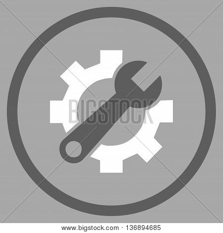 Hardware Maintenance vector bicolor icon. Image style is a flat icon symbol inside a circle, dark gray and white colors, silver background.
