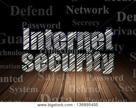 Security concept: Glowing text Internet Security in grunge dark room with Wooden Floor, black background with  Tag Cloud