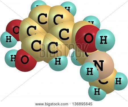 Adrenaline or Epinephrine hormone molecular structure. 3d illustration.