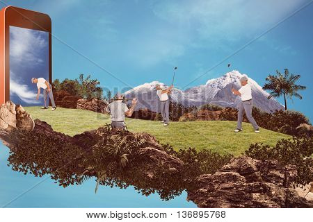 Golf player picking up golf ball against red background