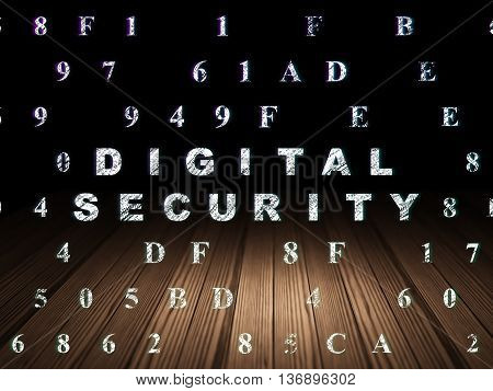 Safety concept: Glowing text Digital Security in grunge dark room with Wooden Floor, black background with Hexadecimal Code