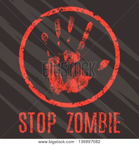 Conceptual vector illustration. Red sign stop zombie.