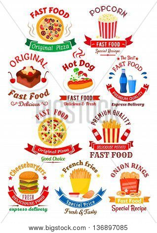 Original italian pizza, hot dog and double cheeseburger, takeaway boxes of french fries, popcorn and onion rings, chocolate cake with cream and sweet soft beverages symbols for fast food cafe or pizzeria design, decorated by ribbon banners and stars