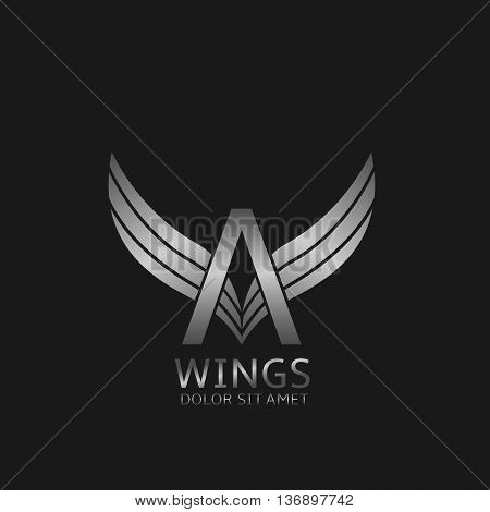 A letter logo. Silver wings symbol. Silver A letter logo template for air company