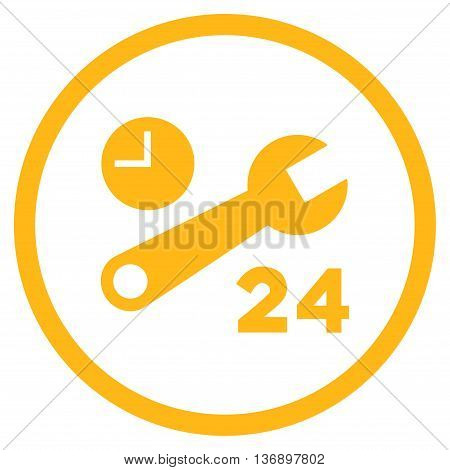 Nonstop Service Hours vector icon. Image style is a flat icon symbol inside a circle, yellow color, white background.