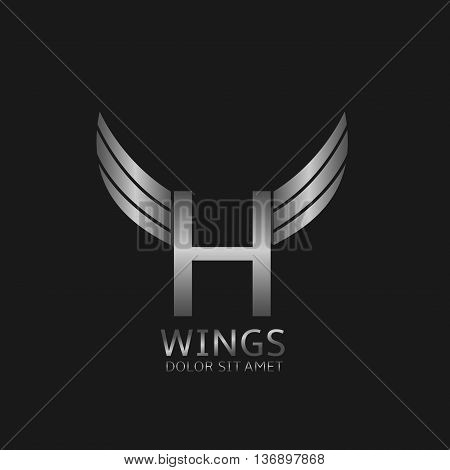 H letter logo. Silver wings symbol. Silver H letter logo template for air company