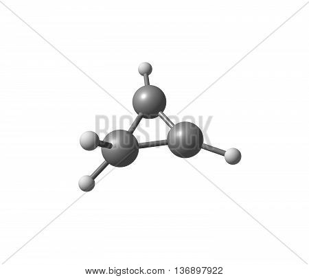 Cyclopropene is an organic compound with the formula C3H4. It is the simplest cycloalkene. It has a triangular structure. 3d illustration