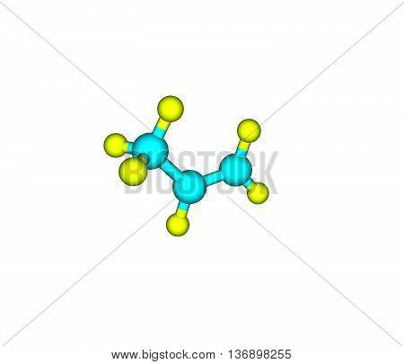 Propene - propylene methylethylene - is an unsaturated organic compound having the chemical formula C3H6. 3d illustration
