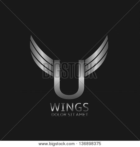 U letter logo. Silver wings symbol. Silver U letter logo template for air company