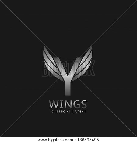 Y letter logo. Silver wings symbol. Silver Y letter logo template for air company
