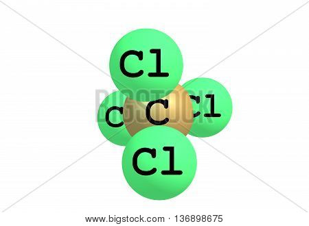 Carbon tetrachloride is the inorganic compound with the formula CCl4. It was formerly widely used in fire extinguishers as a precursor to refrigerants and as a cleaning agent. 3d illustration
