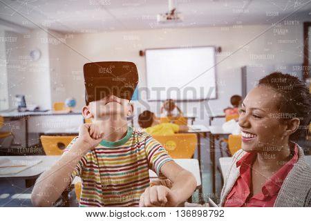 Sphere of skills against child using 3d glasses
