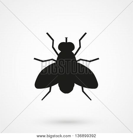 Fly Vector Icon. Style Is Flat Rounded Square Button, Black And White Colors, Gray Background.