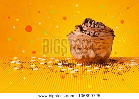 Close up of sweet tasty cakes with colorful background and bokeh light