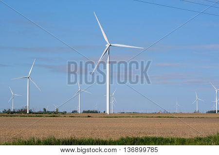 Wind power plant windmills, MI, USA