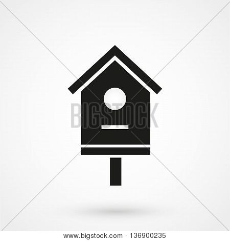 Bird House Icon On White Background In Flat Style. Simple Vector Illustration