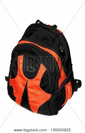 Children's student backpack isolated on white background.