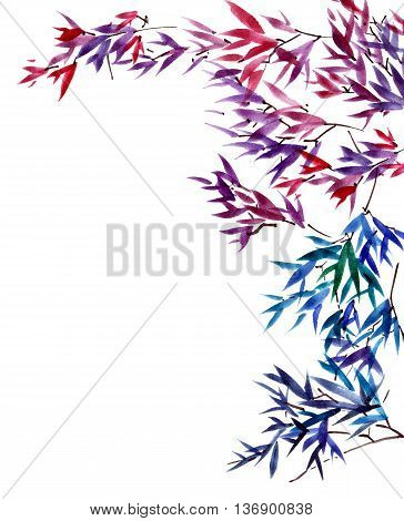 Watercolor and ink painted branches of tree. Sumi-e oriental traditional painting.