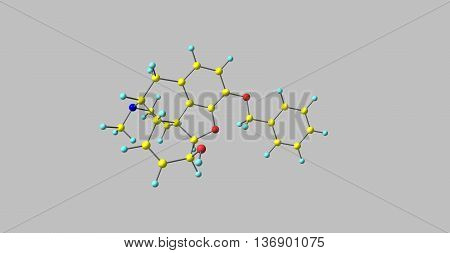 Benzylmorphine or Peronine is a semi-synthetic opioid narcotic introduced to the international market in 1896 and that of the United States very shortly thereafter. 3d illustration