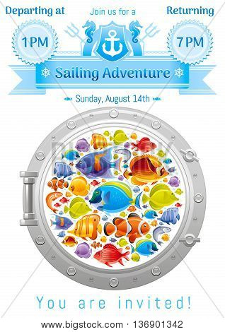 Sea summer travel poster design with tropical angel, butterfly fishes icon set and porthole, coat of arms yachting emblem. Vector illustration on white background with text lettering Sailing Adventure
