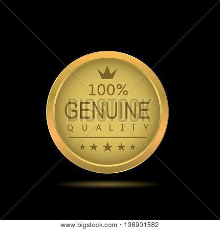 Genuine quality label. Genuine quality. Golden badge. Golden award