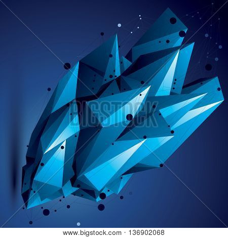 Complicated abstract colorful 3D shape vector digital lattice object. Technology theme.