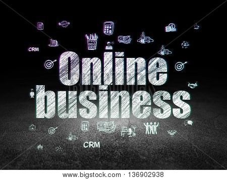 Finance concept: Glowing text Online Business,  Hand Drawn Business Icons in grunge dark room with Dirty Floor, black background