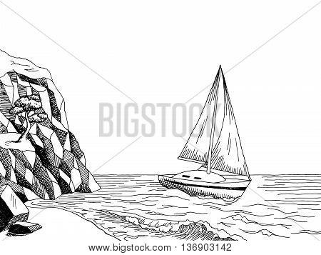 Sea coast yacht graphic art pine black white landscape illustration vector