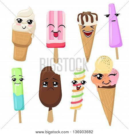 ice cream smilies Set of Emoticons. Isolated vector illustration on white background colorful tasty isolated
