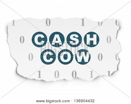 Finance concept: Painted blue text Cash Cow on Torn Paper background with  Binary Code
