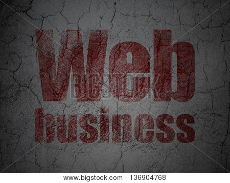 Web development concept: Red Web Business on grunge textured concrete wall background