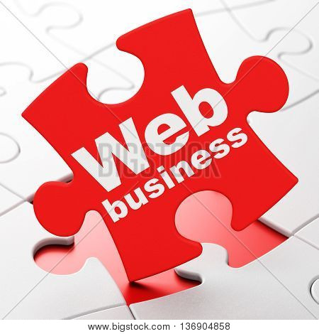 Web development concept: Web Business on Red puzzle pieces background, 3D rendering