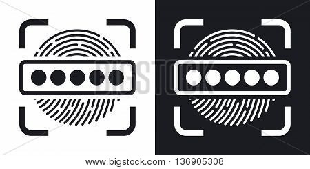 Vector Information Security Concept - Fingerprint Scanner And Password Icon. Two-tone Version Of Inf