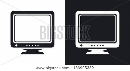 Vector Retro Computer Monitor Icon. Two-tone Version Of Old Computer Monitor Simple Icon On Black An