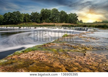 The widest waterfall in Europe in Latvia Kuldiga