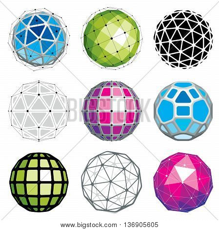 Set Of Perspective Technology Shapes, Polygonal Wireframe Objects Collection. Abstract Faceted Eleme
