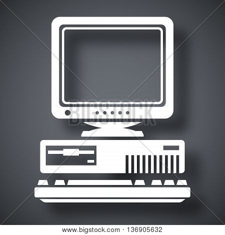 Vector Retro Computer Icon With Keyboard And Crt Monitor Icon. Old Computer Icon With Keyboard And C