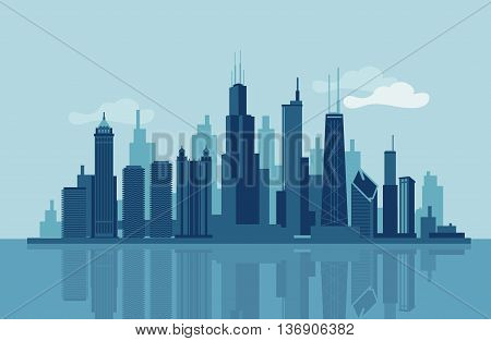 Vectoe skyline of the city of Chicago