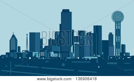 Vector illustration of the city of Dallas