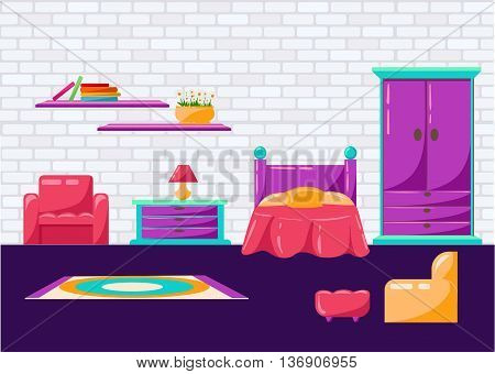 Beautiful design elements Vector illustration of living room furniture in mid century modern style. bedroom
