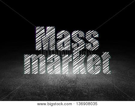 Marketing concept: Glowing text Mass Market in grunge dark room with Dirty Floor, black background