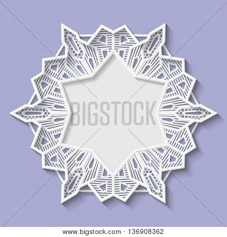 3D star frame vignette with ornaments lace frame bas-relief ornament festive pattern white pattern template greetings vector