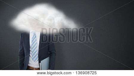 Happy businessman against grey background