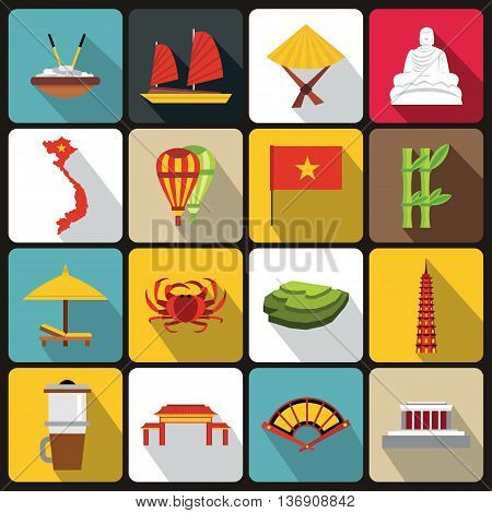 Vietnam travel icons set in flat style vector illustration