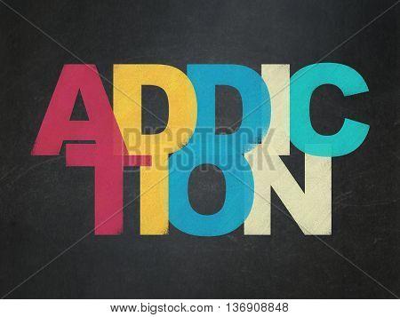 Medicine concept: Painted multicolor text Addiction on School board background, School Board