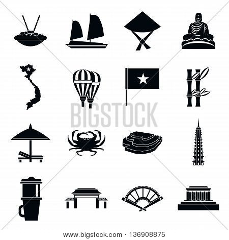 Vietnam travel icons set in simple style isolated vector illustration