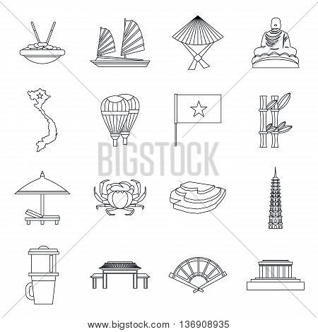 Vietnam travel icons set in outline style isolated vector illustration