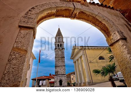 Town of Visnjan square and church Istria Croatia